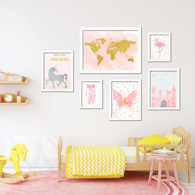 Pink & Gold Children's Framed Art Set - Art Set - Americanflat