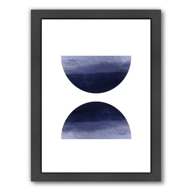 Blue Watercolor Circles by Ikonolexi Framed Print - Americanflat