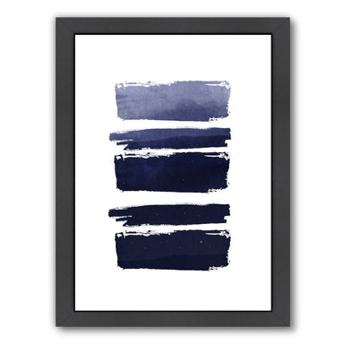 Blue Watercolor Strokes by Ikonolexi Framed Print - Americanflat