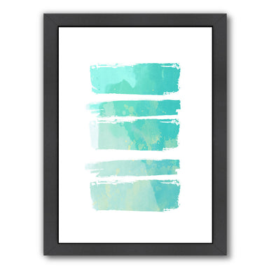 Turquoise Watercolor Brush Strokes by Ikonolexi Framed Print - Americanflat