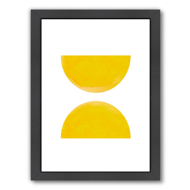 Watercolor Yellow Half Moon Circles by Ikonolexi Framed Print - Americanflat