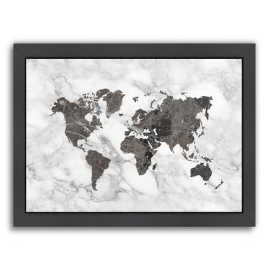 World Map Art And White Marble by Ikonolexi Framed Print - Americanflat