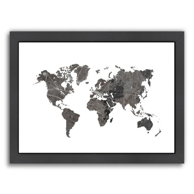 World Map Art Marble by Ikonolexi Framed Print - Americanflat