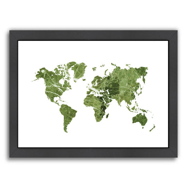 World Map Art Green Marble by Ikonolexi Framed Print - Americanflat