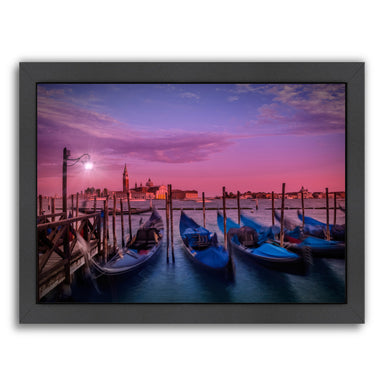 Venice Gondolas At Sunset By Melanie Viola Black Framed Print - Wall Art - Americanflat