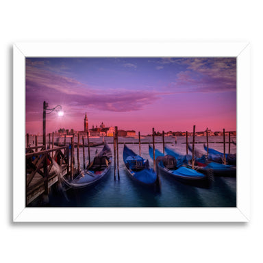 Venice Gondolas At Sunset By Melanie Viola White Framed Print - Wall Art - Americanflat