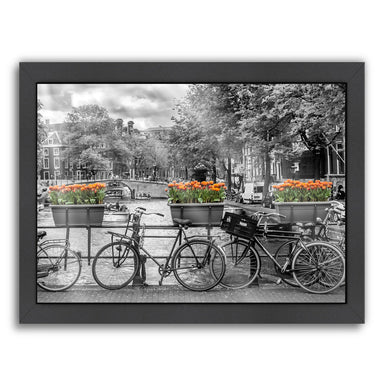 Typical Amsterdam  Panoramic View By Melanie Viola Black Framed Print - Wall Art - Americanflat