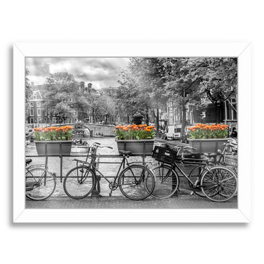 Typical Amsterdam  Panoramic View By Melanie Viola White Framed Print - Wall Art - Americanflat