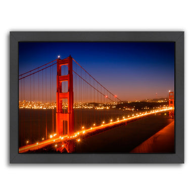 Evening Cityscape Of Golden Gate Bridge By Melanie Viola Black Framed Print - Wall Art - Americanflat