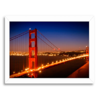 Evening Cityscape Of Golden Gate Bridge By Melanie Viola White Framed Print - Wall Art - Americanflat