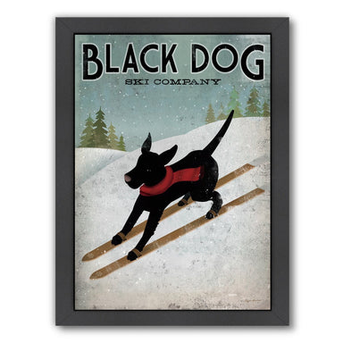 Black Dog Ski by Wild Apple Framed Print - Americanflat