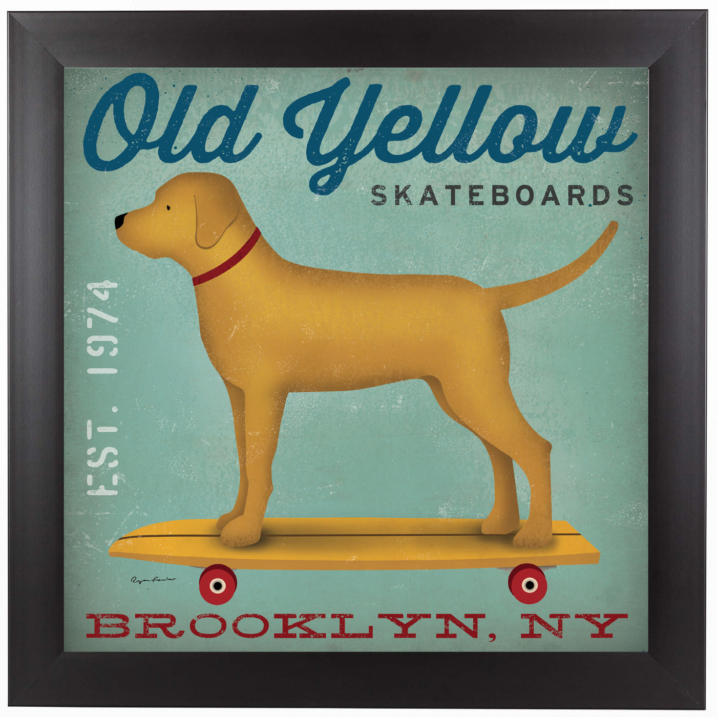 Old Yellow Skateboards by Wild Apple Framed Print