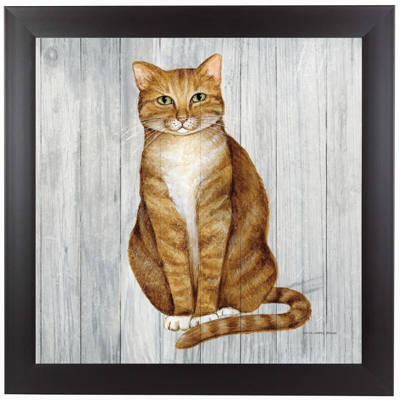 Country Kitty II on Wood by Wild Apple Framed Print