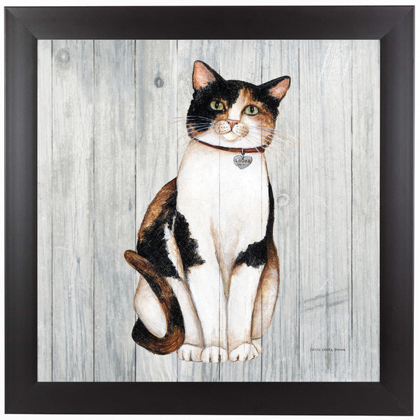 Country Kitty III on Wood by Wild Apple Framed Print