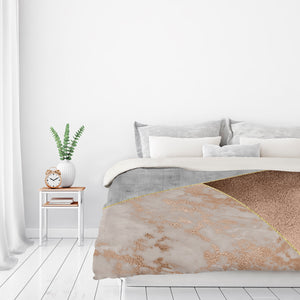 Chic Rose Gold Marble Copper Triangles by Grab My Art Duvet Cover
