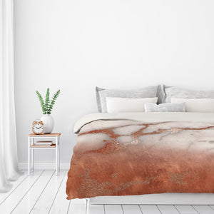 Luxury Metal Copper And Luxury Marble by Grab My Art Duvet Cover