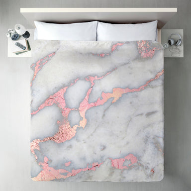 Rose Gold Blush Metal Foil On Marble by Grab My Art Duvet Cover - Duvet Covers - Americanflat