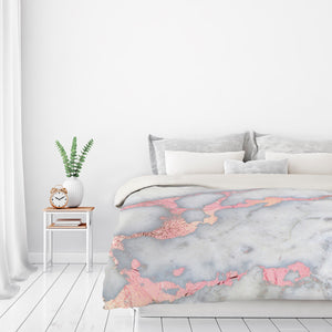 Rose Gold Blush Metal Foil On Marble by Grab My Art Duvet Cover