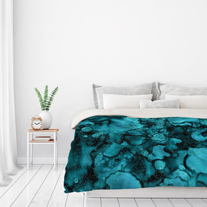 Shiny Blue Malachite Marble Agate With Glitter by Grab My Art Duvet Cover