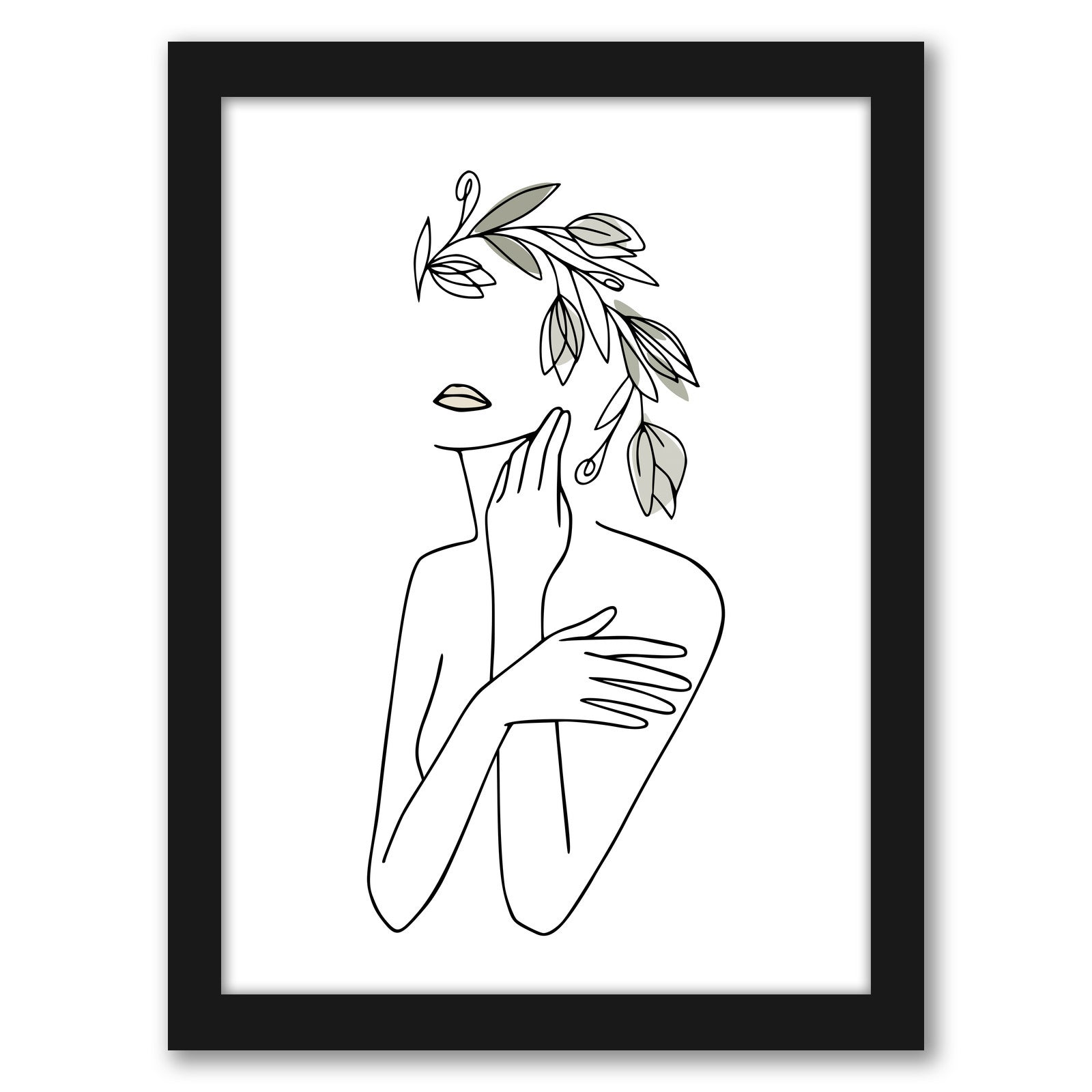Woman Face With Flower Wreath 1 by Grab My Art - Black Framed Print - Wall Art - Americanflat