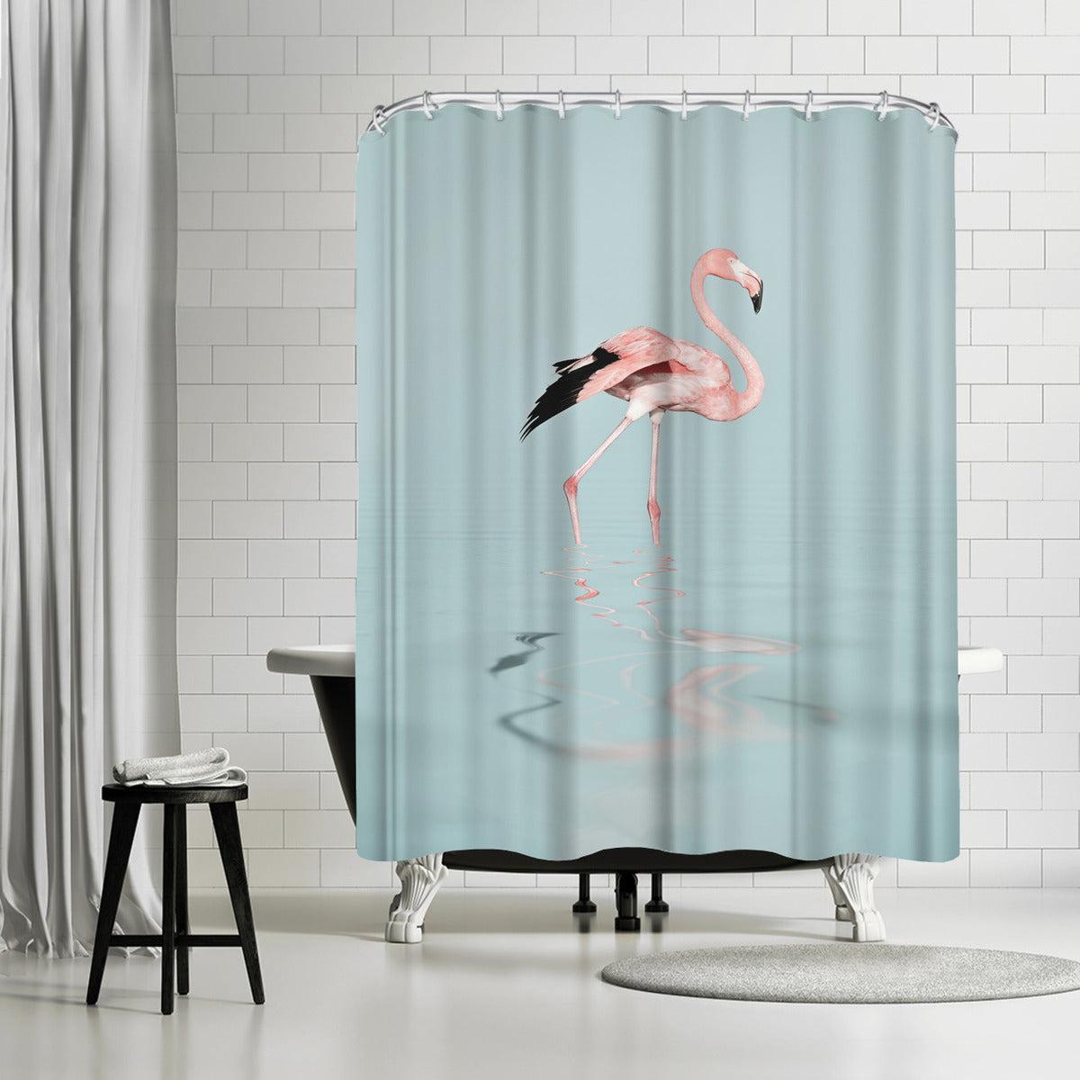 Tropical Flamingo by Lebens Art Shower Curtain - Shower Curtain - Americanflat