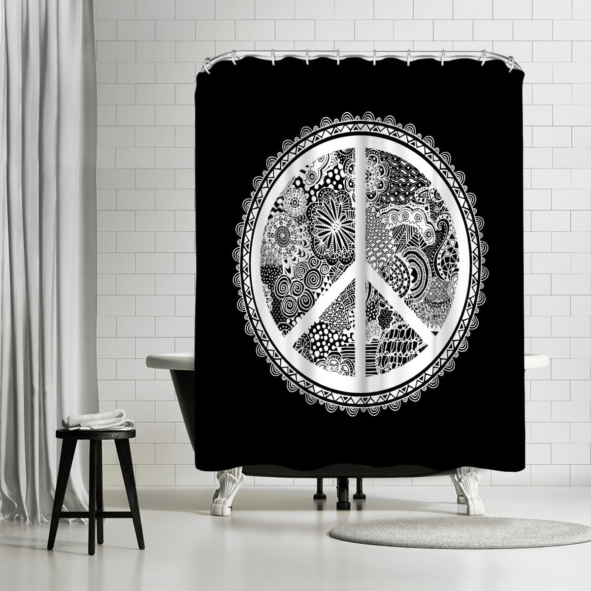Doodle Peace Symbol by Lebens Art Shower Curtain -  - Americanflat