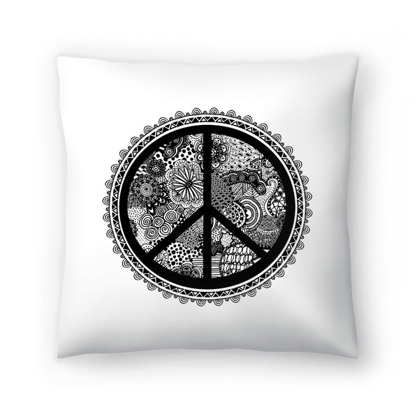 Doodle Peace Symbol 2 by Lebens Art Decorative Pillow