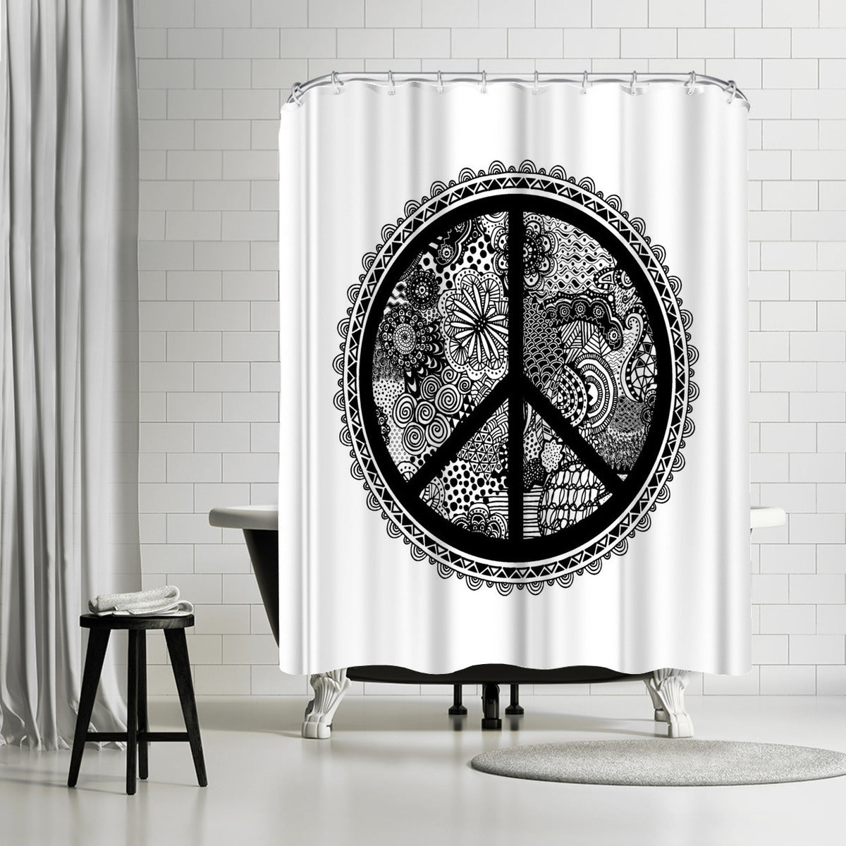 Doodle Peace Symbol 2 by Lebens Art Shower Curtain - Shower Curtain - Americanflat