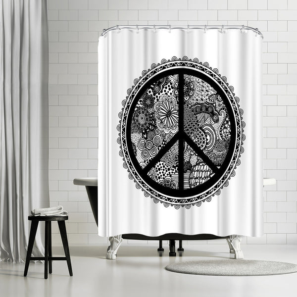 Doodle Peace Symbol 2 by Lebens Art Shower Curtain