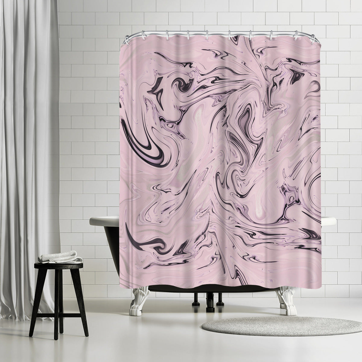 Elegant Pink Marble by Lebens Art Shower Curtain - Shower Curtain - Americanflat