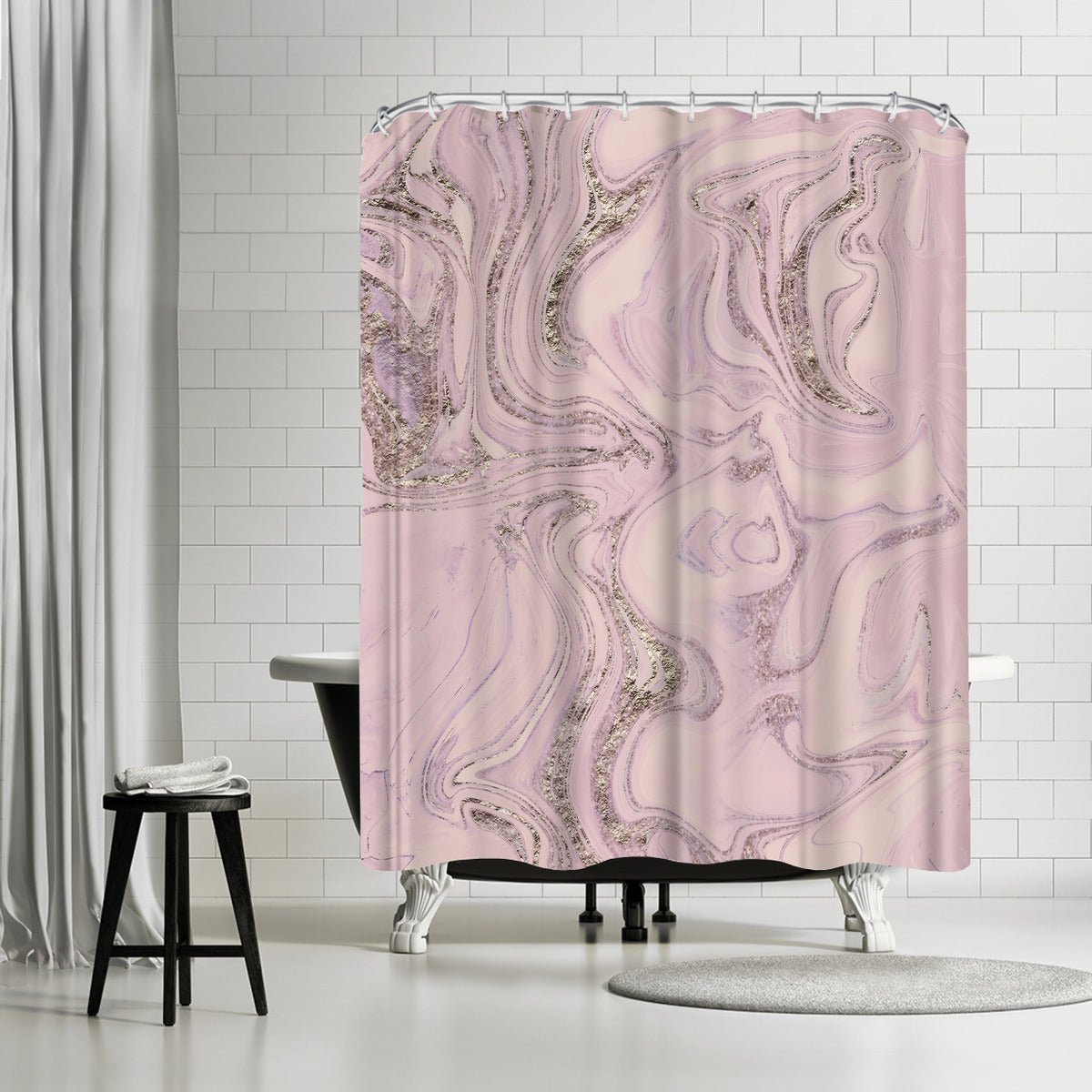 Glamorous Pink Marble by Lebens Art Shower Curtain - Shower Curtain - Americanflat