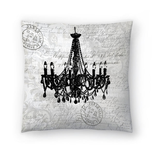 Grey Baroque Chandelier by Lebens Art Decorative Pillow