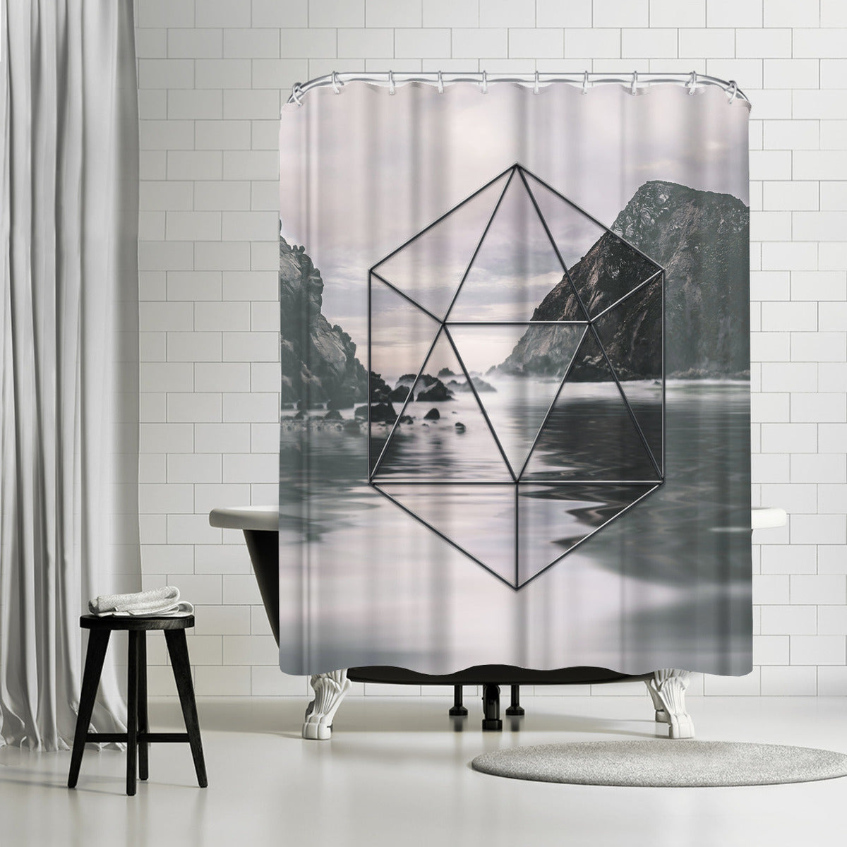Landscape Surreal Geometry 2 by Lebens Art Shower Curtain -  - Americanflat