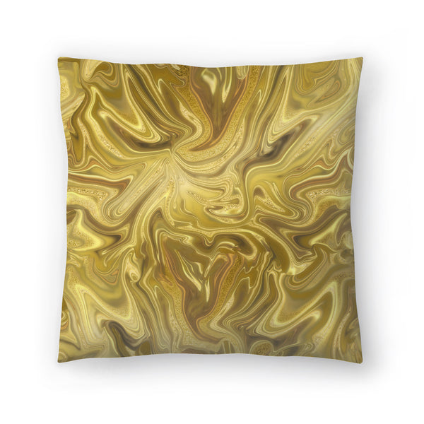 Liquid Gold by Lebens Art Decorative Pillow