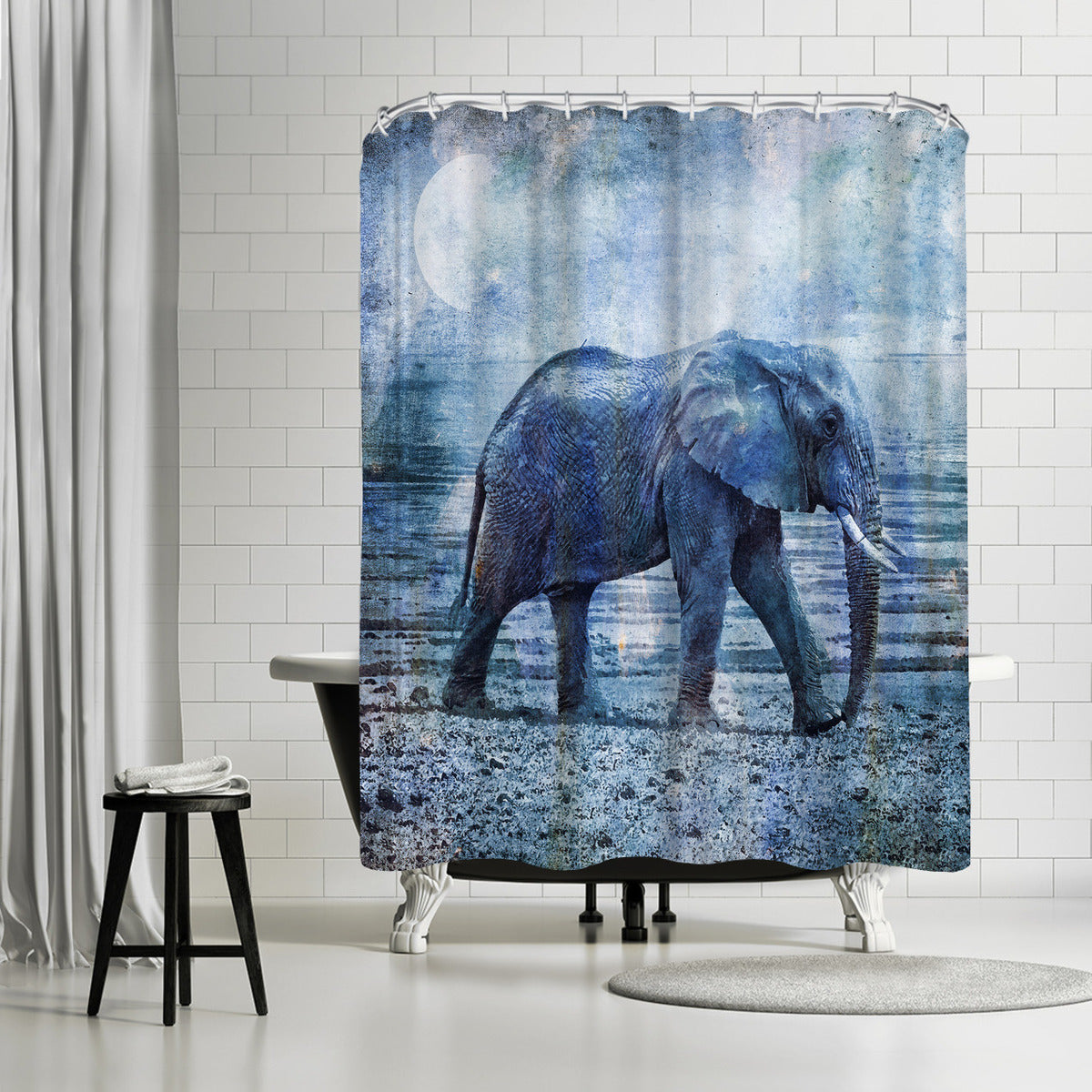 Lonely Elephant by Lebens Art Shower Curtain