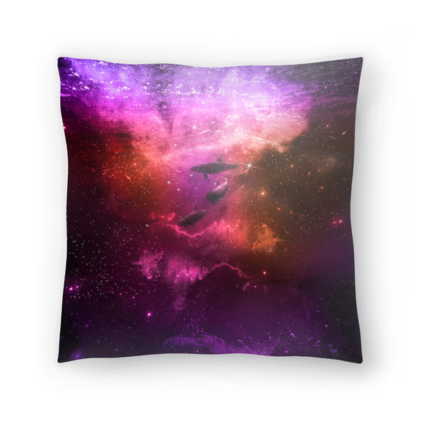 Mystic Dolphins by Lebens Art Decorative Pillow