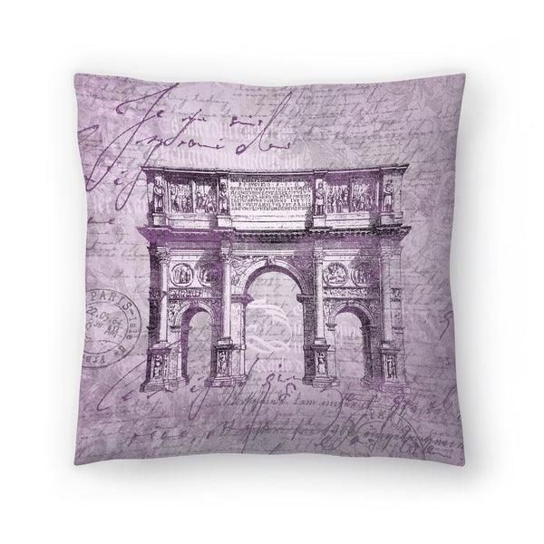 Purple Arc De Triomphe by Lebens Art Decorative Pillow