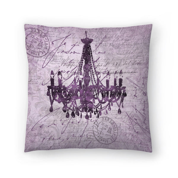 Purple Baroque Chandelier by Lebens Art Decorative Pillow