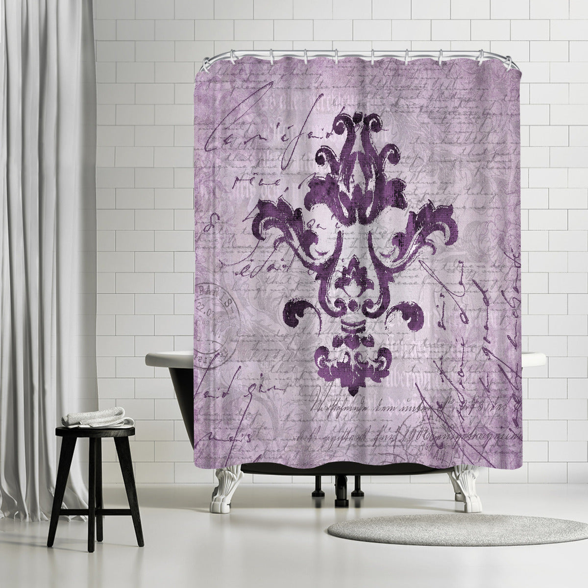 Purple Baroque Ornament by Lebens Art Shower Curtain