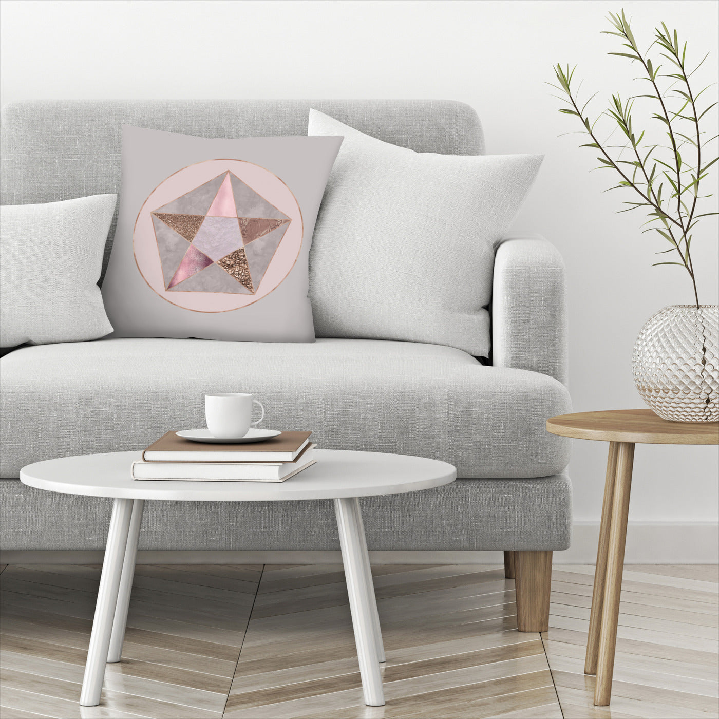 Rose Gold Geometry by Lebens Art Decorative Pillow - Decorative Pillow - Americanflat