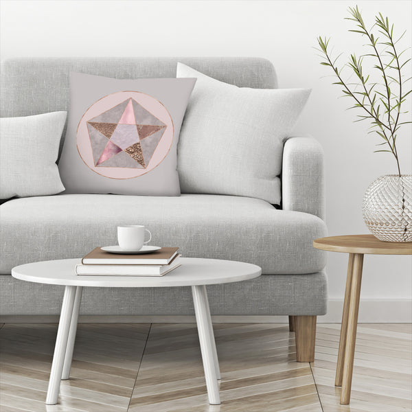 Rose Gold Geometry by Lebens Art Decorative Pillow