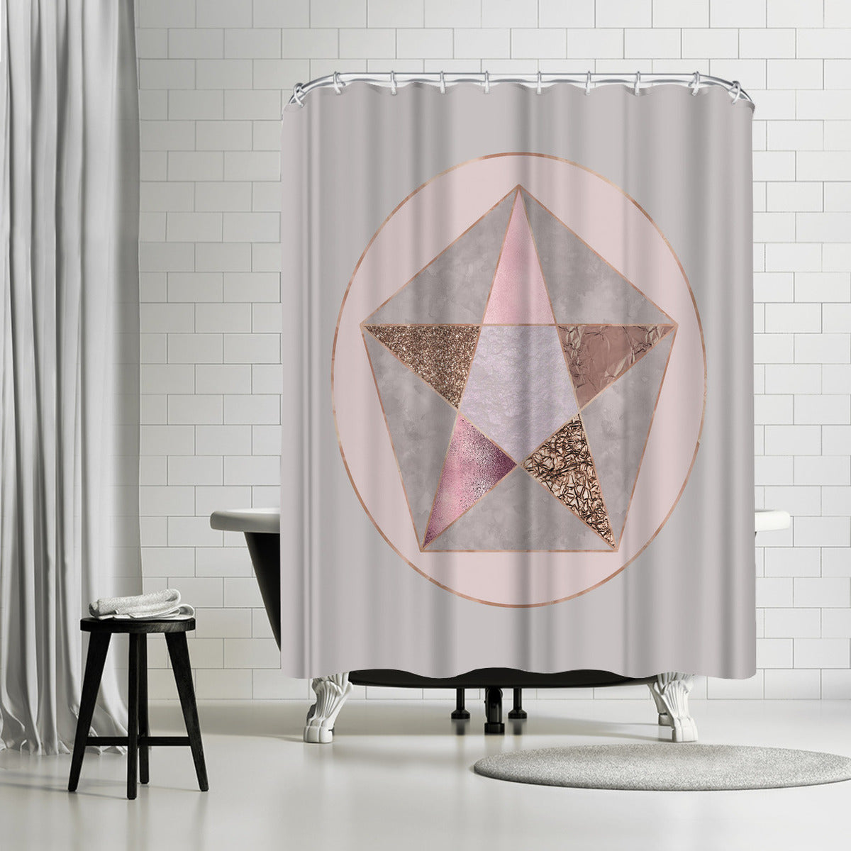 Rose Gold Geometry by Lebens Art Shower Curtain -  - Americanflat