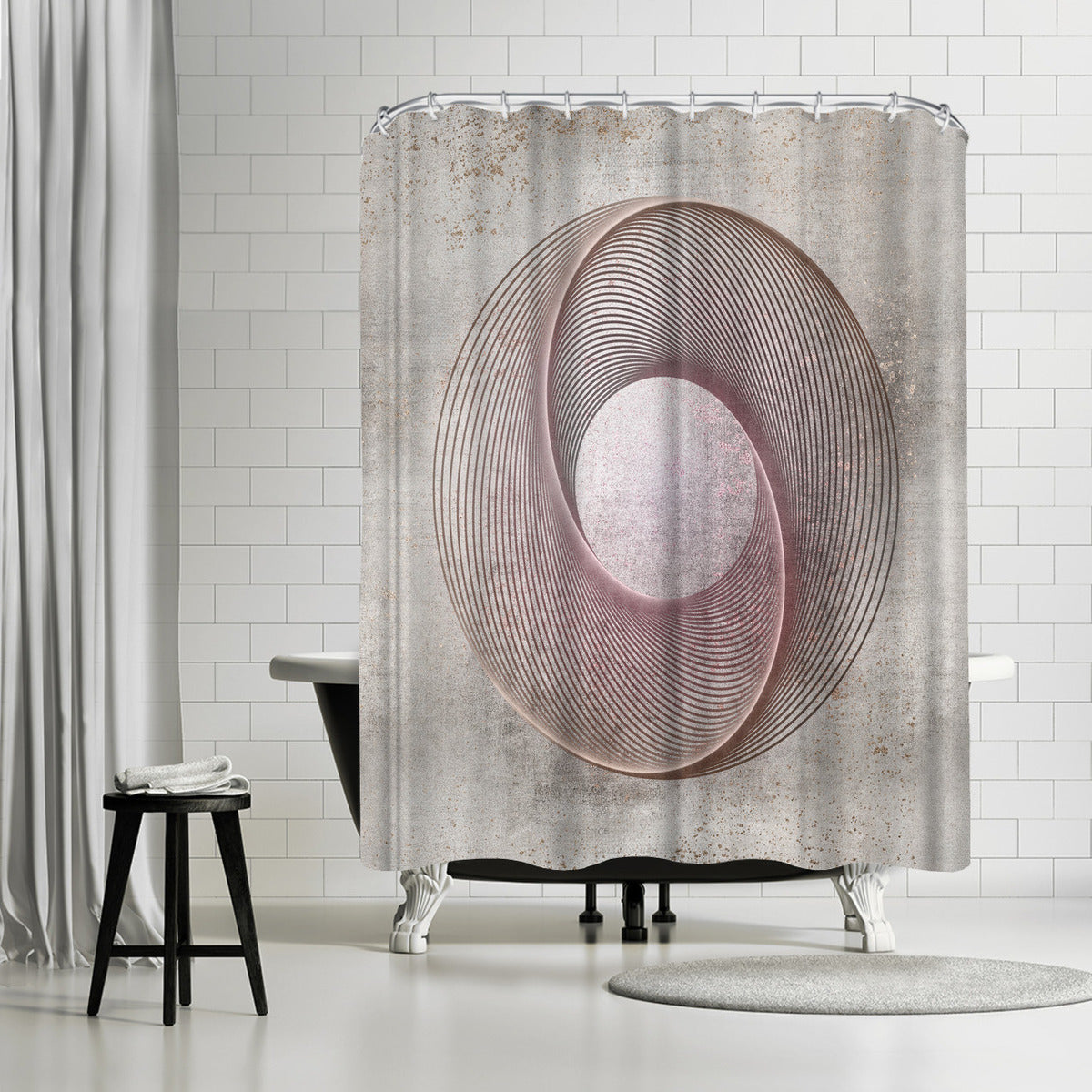 Rose Gold Line Art by Lebens Art Shower Curtain