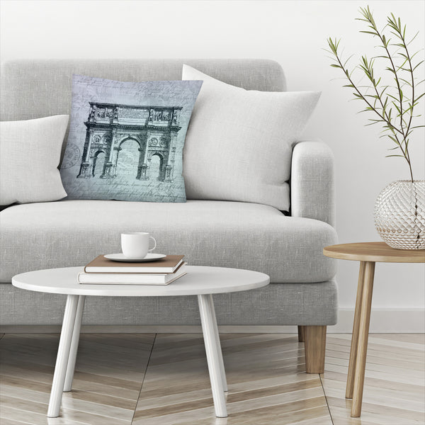 Teal Arc De Triomphe by Lebens Art Decorative Pillow