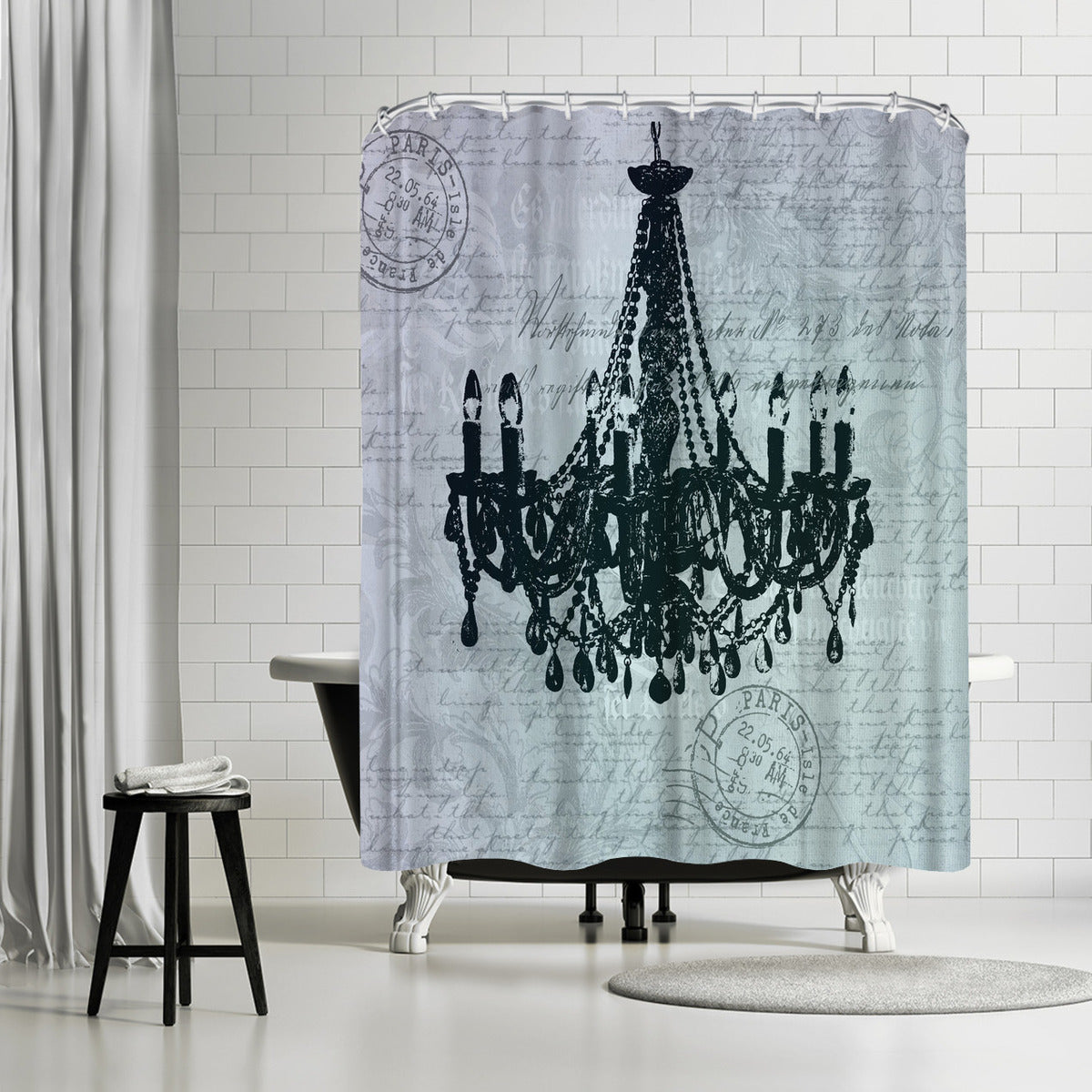 Teal Baroque Chandelier by Lebens Art Shower Curtain - Shower Curtain - Americanflat