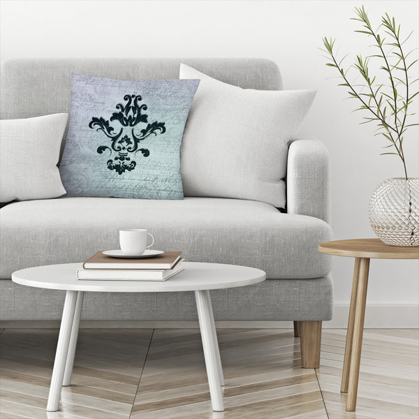 Teal Baroque Ornament by Lebens Art Decorative Pillow