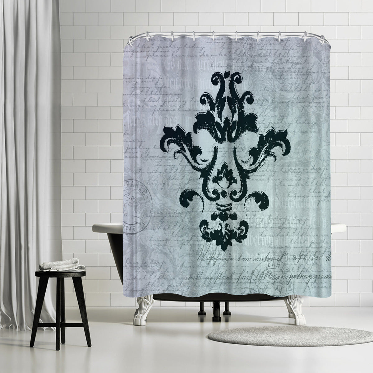 Teal Baroque Ornament by Lebens Art Shower Curtain - Shower Curtain - Americanflat