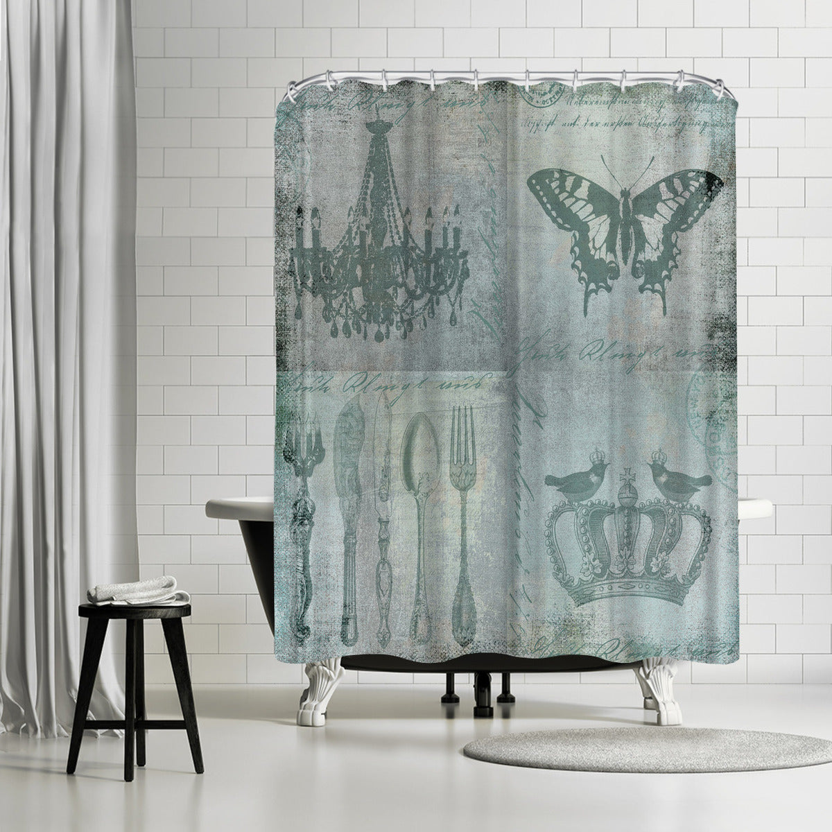 Teal Baroque by Lebens Art Shower Curtain -  - Americanflat