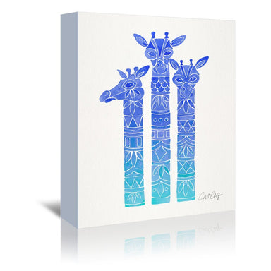 Blue Ombre Giraffes by Cat Coquillette Wrapped Canvas - Wrapped Canvas - Americanflat