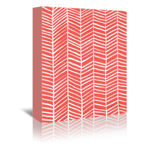 Coral Herring Bone by Cat Coquillette Wrapped Canvas